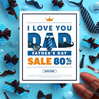 Modelo de banner do dia dos pais com gravata, óculos e caixa de presente em azul