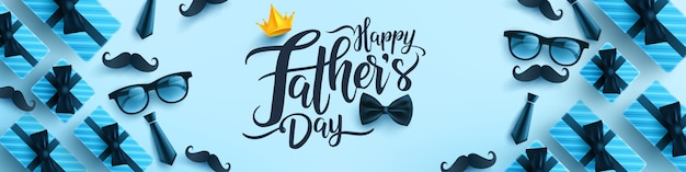 Modelo de banner do dia dos pais com gravata, óculos e caixa de presente em fundo azul.