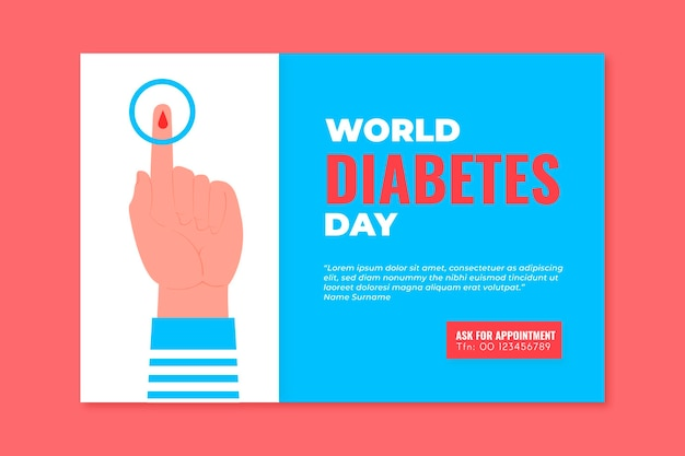 Modelo de banner do dia mundial da diabetes