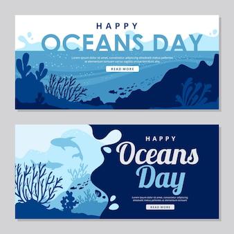 Modelo de banner do dia mundial dos oceanos