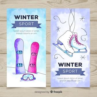 Modelo de banner do esporte de inverno em aquarela