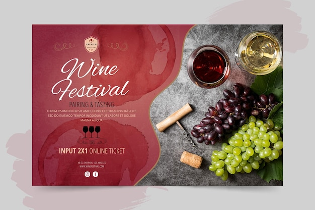 Modelo de banner do festival de vinho