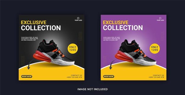 Modelo de banner do instagram da coleção exclusiva de sapatos