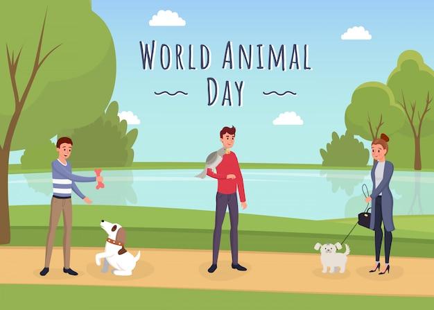 Modelo de banner do mundo animal dia