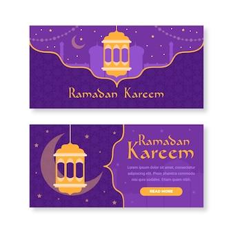 Modelo de banner do ramadan design plano