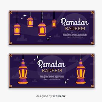 Modelo de banner do ramadan lanternas plana pendurado