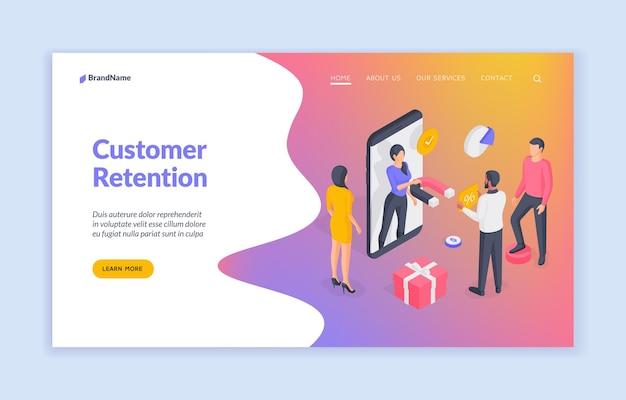 Modelo de banner do site de retenção de clientes