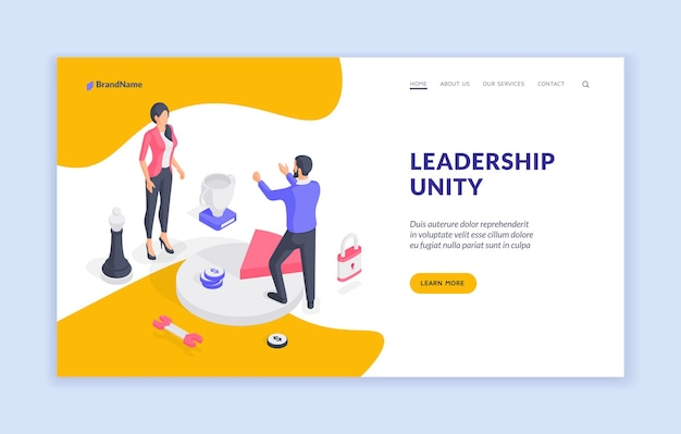 Modelo de banner do site de unidade de liderança
