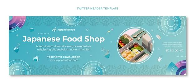 Modelo de banner do twitter de comida japonesa desenhado à mão