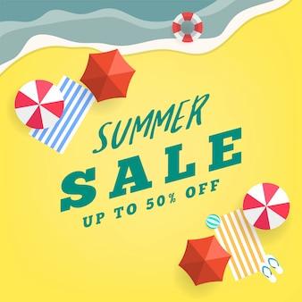 Modelo de banner do verão venda praia tropical vista superior