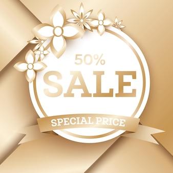 Modelo de banner dourado de venda com flores e espaço de cópia. tag de venda. ilustração vetorial.