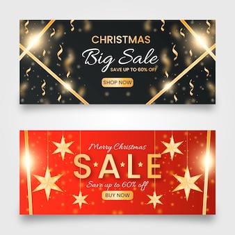 Modelo de banner dourado de venda de natal