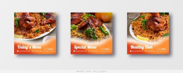 Modelo de banner e venda de comida em mídias sociais e instagram