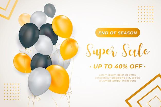 Modelo de banner elegante venda com balões