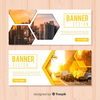 Modelo de banner empresarial moderno com foto
