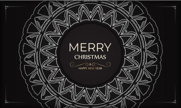 Modelo de banner feliz ano novo e feliz natal na cor preta com enfeites brancos.