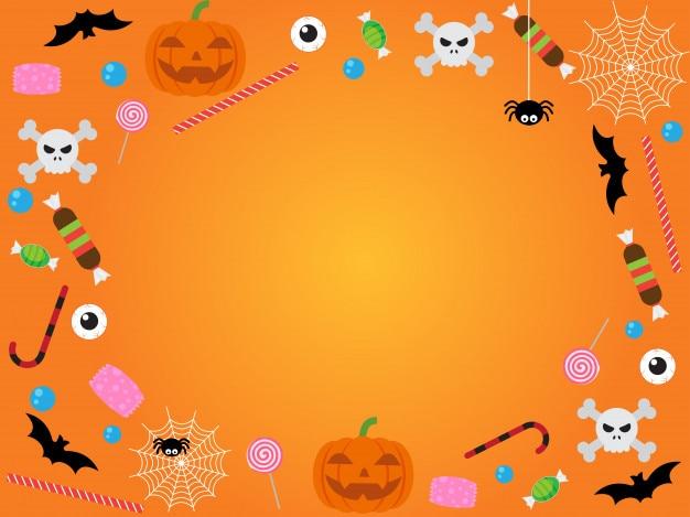 Modelo de banner feliz dia das bruxas em fundo laranja