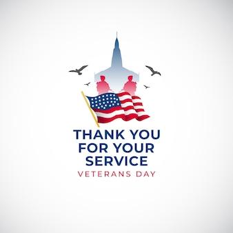Modelo de banner feliz dia dos veteranos bandeira dos estados unidos