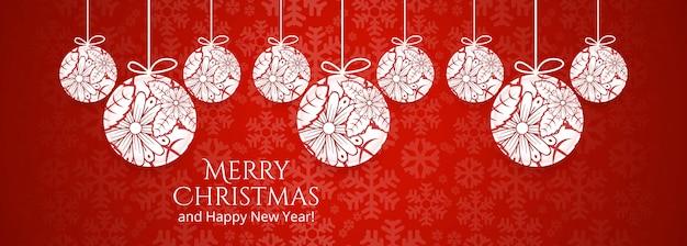 Modelo de banner feliz natal com enfeites