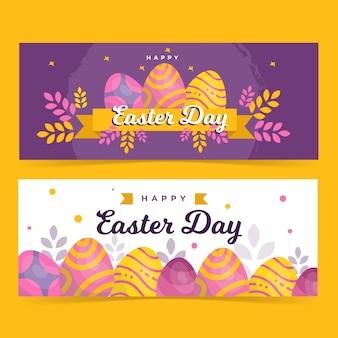 Modelo de banner feliz páscoa folhas e ovos