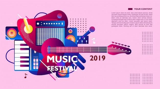 Modelo de banner festival de música, colorido. ilustração