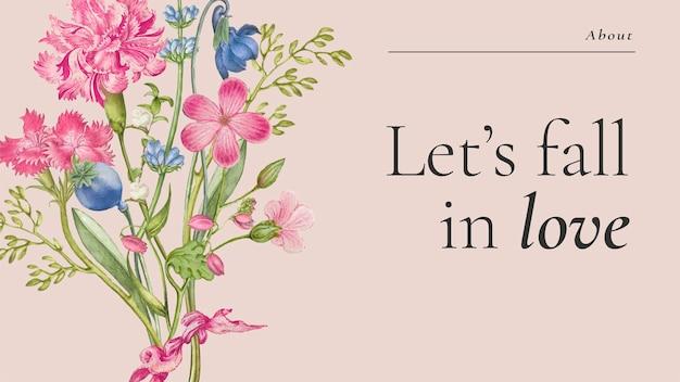 Modelo de banner floral colorido em lindo estilo vintage, remixado de obras de arte de pierre-joseph redouté