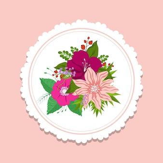 Modelo de banner floral da moda. elemento de design bonito com ilustração de buquê colorido