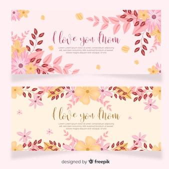 Modelo de banner floral do dia das mães