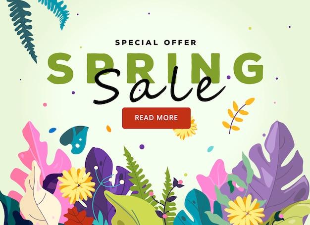 Modelo de banner floral primavera. ilustração de flores da primavera, floresta de fantasia e fundo de folhas exóticas.