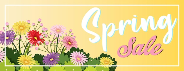 Modelo de banner floral primavera