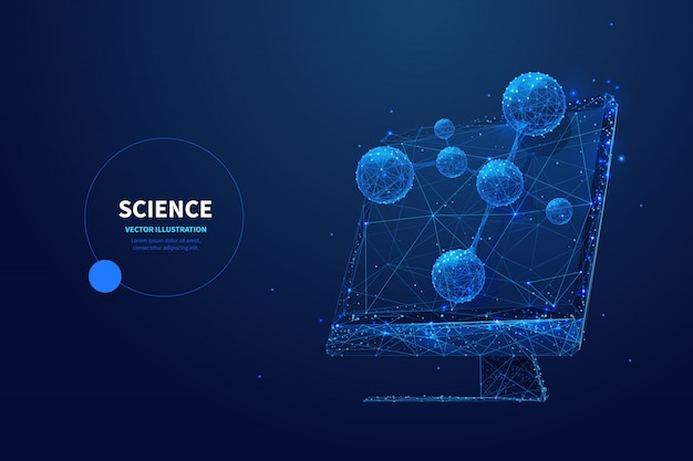 Modelo de banner futurista ciência baixa poli wireframe. tecnologia de pesquisa científica, design poligonal de cartaz de estudo de biotecnologia. monitorar com modelo de molécula arte em malha 3d com pontos conectados