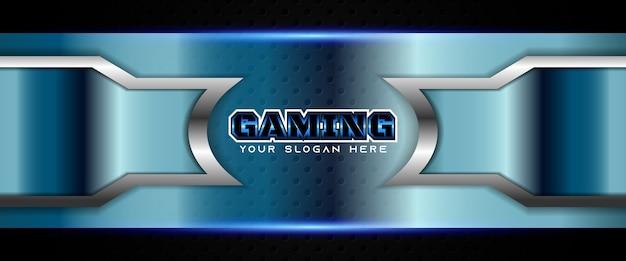 Modelo de banner futurista para jogos em azul e preto Vetor Premium
