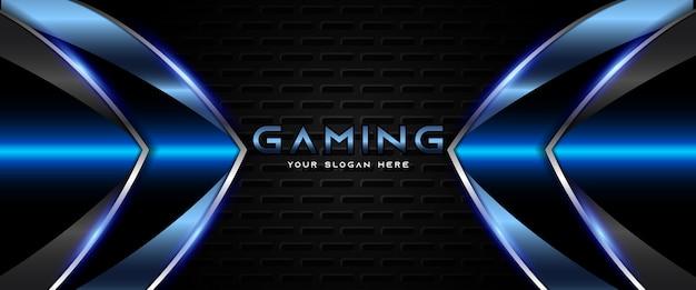 Modelo de banner futurista para jogos em azul e preto