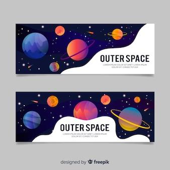 Modelo de banner galáxia colorido mão desenhada