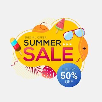 Modelo de banner geométrico abstrato de venda de verão