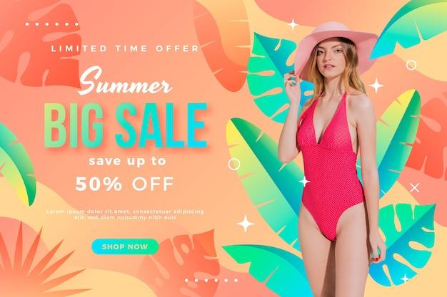 Modelo de banner gradiente de venda de verão com foto