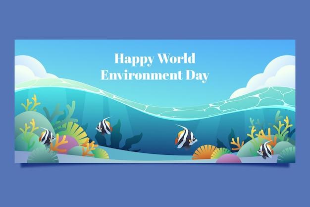 Modelo de banner gradiente do dia do meio ambiente mundial