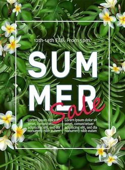 Modelo de banner grande venda de verão com folhas tropicais