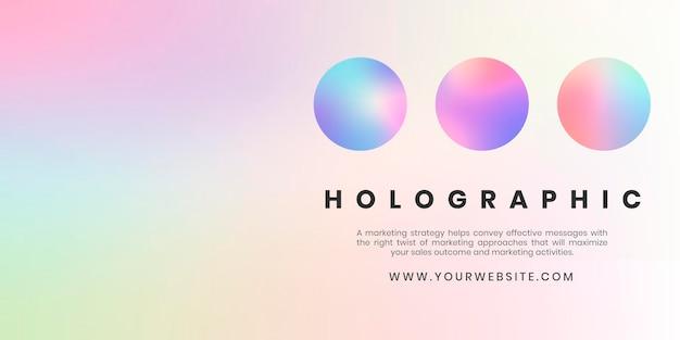 Modelo de banner holográfico pastel