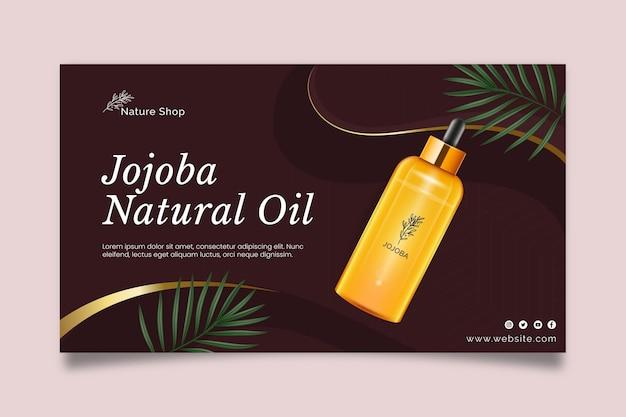 Modelo de banner horizontal cosmético de óleo de beleza