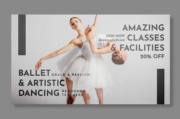 Modelo de banner horizontal dançando