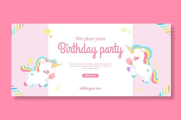 Modelo de banner horizontal de aniversário infantil unicórnio