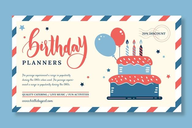 Modelo de banner horizontal de aniversário infantil