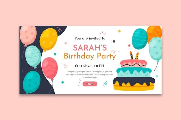 Modelo de banner horizontal de aniversário