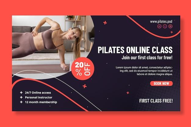 Modelo de banner horizontal de aula online de pilates