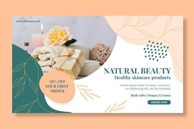 Modelo de banner horizontal de beleza natural