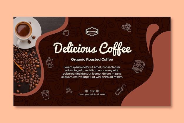 Modelo de banner horizontal de café