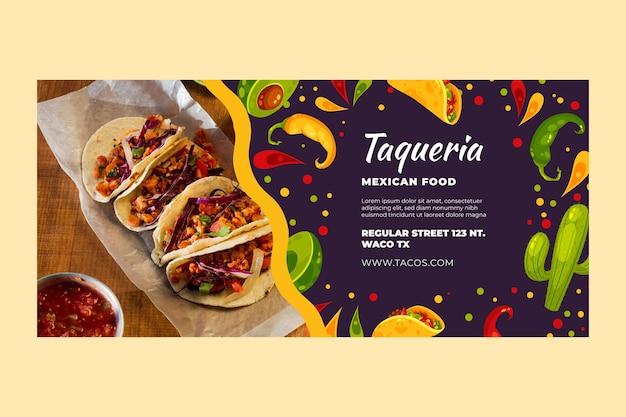 Modelo de banner horizontal de comida mexicana
