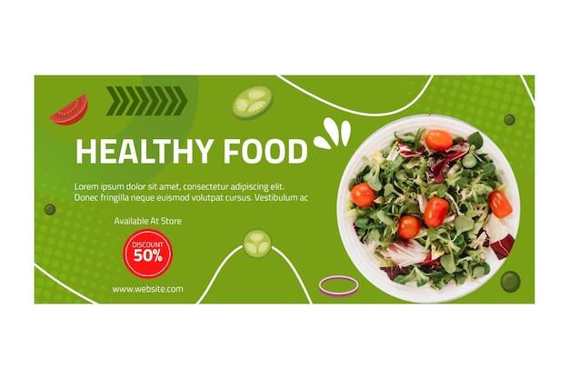 Modelo de banner horizontal de comida saudável com foto