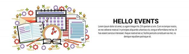 Modelo de banner horizontal de conceito de agendamento de eventos hello